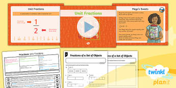 PlanIt Y3 Fractions Lesson Pack Find Fractions of a Set of Objects (1) - Fractions, fractions of groups, fraction of a group, fraction of an amount, fraction of a number, unit fraction, fraction of a set