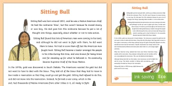Native Americans Sitting Bull Information Sheet-Scottish - Native Americans, famous Native Americans, chief, South Dakota gold, Little Bighorn,Scottish