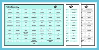KS4 Maths Word Mat Geometry - KS3, KS4, GCSE, Maths, keywords, vocabulary, revision, geometry