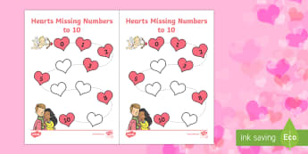 Valentine's Day Hearts Missing Numbers to 10 Activity Sheet - Valentine's Day,  Feb 14th, love, cupid, hearts, valentine, worksheet, 10, counting, eyfs, romantic