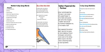 Elderly Care Mother's Day Song Words Instructions for Coordinator - Elderly, Reminiscence, Care Homes, Mother's Day