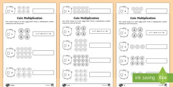 Year 2 Maths Coin Multiplication Homework Activity Sheet - year 2, maths, homework, multiplication, money, inverse, problem solving, worksheet, repeated additi