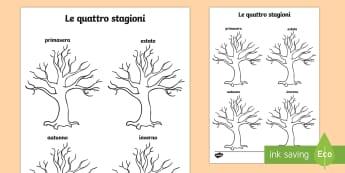 Le quattro stagioni disegna sugli alberi Attività - le, quattro stagioni, disegna, le, foglie, i fiori, disgenare, colroare, attivita, italiano, italian