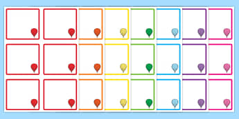 Hot Air Balloon Square Peg Labels