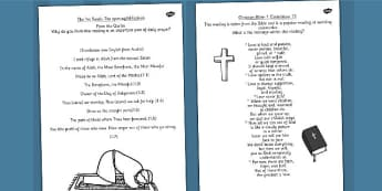 Holy Readings Hand Out Sheets - religious education, religion, RE, beliefes