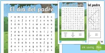 Sopa de letras: El día del padre - el día del padre, papá, papi, amor, familia, hijo, hija, celebración, fiesta, evento,Spanish