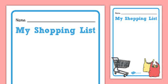 Shopping List Template - gaeilge, shopping list, template, shopping, shop, list