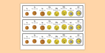 Euro Coins Strips - euro, coins, euro coins, strip, money, europe