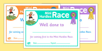 Sports Day Mini Hurdles Race Certificates - sports day, certificates