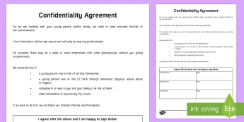 Young People and Families Confidentiality Agreement - Young People & Families Case File Recording, referral, chronology, contents page,buddy system, safeg