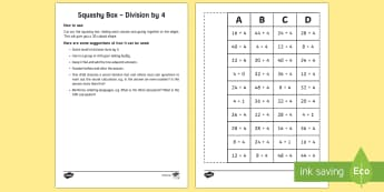 Squashy Boxes Division by 4 - Mental Maths Warm Up + Revision - Northern Ireland, squashy boxes, division, divide by 4.