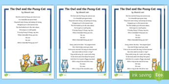 The Owl and the Pussy-Cat Poem - Develop pleasure in reading, motivation to read, vocabulary and understanding, Understand what they