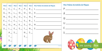Easter Acrostic Poem French - French, Easter, CHOCOLATS, CLOCHES, POULES, POUSSINS, BONBONS, LAPINS, AGNEAU, Pâques, poetry, writ