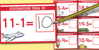 Subtraction From 20 Cards - subtraction, cards, 20, from 20