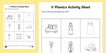 v Phonics Colouring Activity Sheet - Republic of Ireland, Phonics Resources, phonics assessment, colouring, activity sheet, initial sound