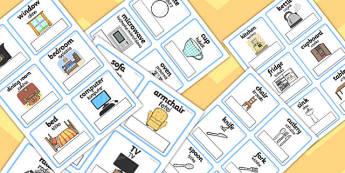 Polish Translation Everyday Objects at Home Editable Cards - polish