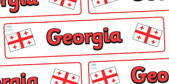 Georgia Display Banner - Georgia, Olympics, Olympic Games, sports, Olympic, London, 2012, display, banner, sign, poster, activity, Olympic torch, flag, countries, medal, Olympic Rings, mascots, flame, compete, events, tennis, athlete, swimming