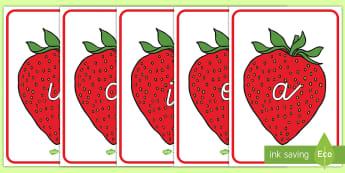 Phoneme auf Erdbeeren Poster für die Klassenraumgestaltung - Phoneme mit Bildern, Phoneme, Erstes Schreiben, Erstes Lesen, Phonem, Phonem Poster, Phoneme Poster,