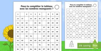 Tableau des nombres jusqu'à 100 : L'été - tableau de nombres jusqu'à 100, compter, nombres, été, vacances, Summer Themed Missing Numbers N