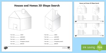 Houses and Homes 3D Shape Search Activity - kinds of houses pdf, houses and homes, shapes, shape and space, 2D shape, find the shape, hidden sha