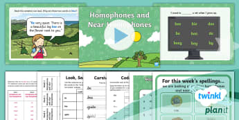 PlanIt English Y2 Term 3B W2: Homophones and near Homophones Spelling Pack - Spellings, Year 2, sounds the same,