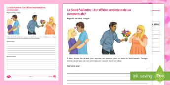 Valentine's Day Opinions Writing Activity Sheet - Valentine's Day, French, 14th February, Saint Valentin, opinion, for, against, debate, pour, contre
