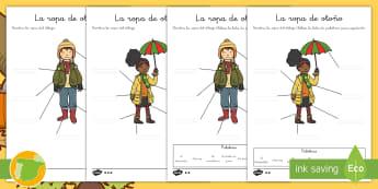 Ficha de actividad: Nombra la ropa - Otoño - estaciones, escritura, escribir, vocabulario, frío, ,Spanish