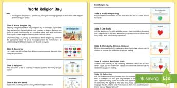 World Religion Day Assembly Script - world religion day, assembly, script, religion, RE, respect