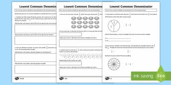 Year 6 Christmas Lowest Common Denominator Differentiated Activity Sheets - KS2, Year 6, common multiples. lowest common denominator, Christmas, mastery,
