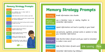 Memory Strategies for Key Stage 3 A4 Display Poster - memory, remember, dyslexia, revision, key stage 3