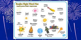 Bonfire Word Mat Romanian Translation - romanian, bonfire night, word mat