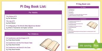 Pi Day Book List - Pi, diameter, circumference