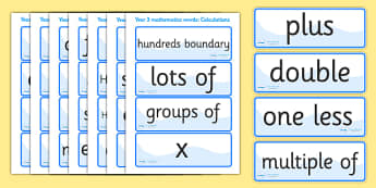 Calculations Vocabulary Cards (Year 3) - calculations, vocabulary, vocab, calculation, calculating, year 3, addition, add, plus, minus, subract, subracting, taking away, sum