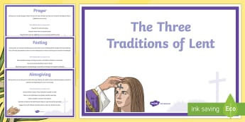 The Three Traditions of Lent A4 Display Posters - Australian Requests, The Three Traditions of Lent  A4 Display Poster , lent traditions, almsgiving,