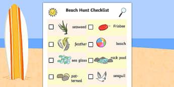 Beach Scavenger Hunt - beach hunt, checklist, check, list, hunt