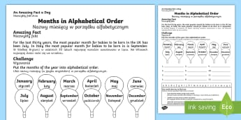Months in Alphabetical Order Activity Sheet English/Polish - Amazing Fact Of The Day, activity sheets, powerpoint, starter, morning activity, november, months, a