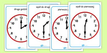 Pełne godziny i wpół do na zegarze po polsku - czas