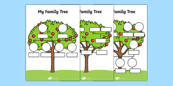 My Family Tree  - Family tree, family tree template, my family, parent, mum, dad, grandparent, grandma, grandad, family, granpa