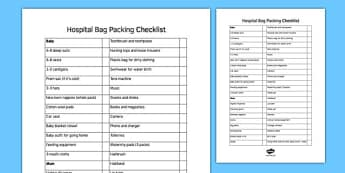 New Mums Hospital Bag Checklist - hospital bag, checklist, hospital, bag, new mum