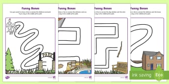 Funny Bones Pencil Control Path Activity Sheets