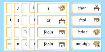 Positional Vocabulary Cards Gaeilge - Position, Positional, Positional Language, Position Words, up, down, inside, outside, next to, North, South, East, West