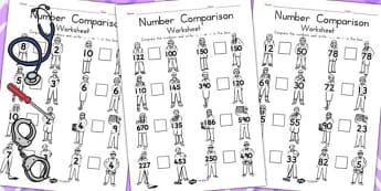 People Who Help Us Number Comparison Worksheet - numeracy, maths