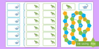 Juego de mesa editable: Los dinosaurios - Dinosaurios, pre-historia, dinos, tiranosaurio, estegosaurio, triceratops, proyectos, aprendizaje ba