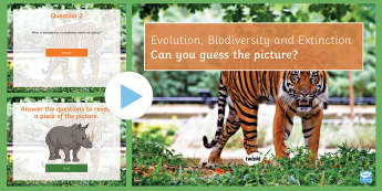 Evolution, Extinction and Biodiversity Quiz PowerPoint - PowerPoint Quiz, Evolution, Extinction, Biodiversity, Natural Selection, Endangered, Genebank, Charl