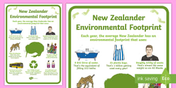 New Zealander Environmental Footprint Display Poster - tidy kiwi, New Zealand, rubbish, recycling, Years 1-6, footprint, carbon emissions,