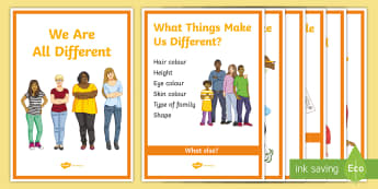 We\'re All Different A4 Display Poster - SEN, KS4, bullying, bully, special, play, happy, secondary