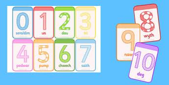 Cardiau Fflach Rhifau 0-10 - visuals, visual, number, cards