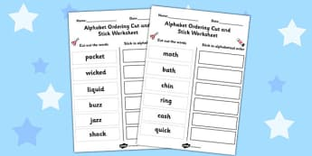 Alphabet Ordering Cut and Stick Worksheet KS1 - alphabet, order