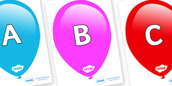 A-Z Alphabet on Balloons - A-Z, A4, display, Alphabet frieze, Display letters, Letter posters, A-Z letters, Alphabet flashcards