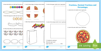 Early Level Assessment Fractions Activity Sheet - CfE Early Level Assessment, numeracy, number, fractions, half, quarter, equal share, sharing,Scottis